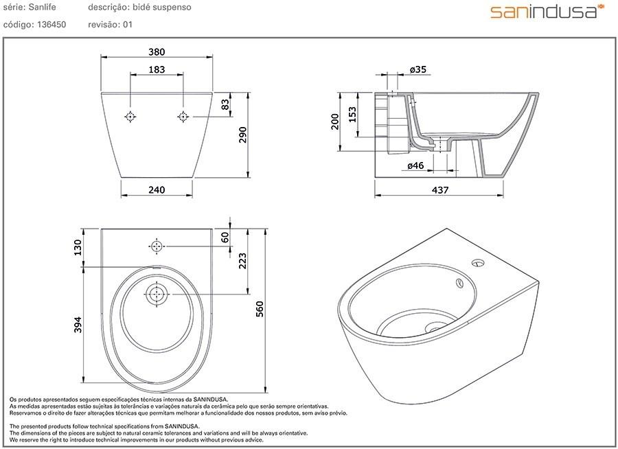 bidet h ngend sanlife perfecto design. Black Bedroom Furniture Sets. Home Design Ideas