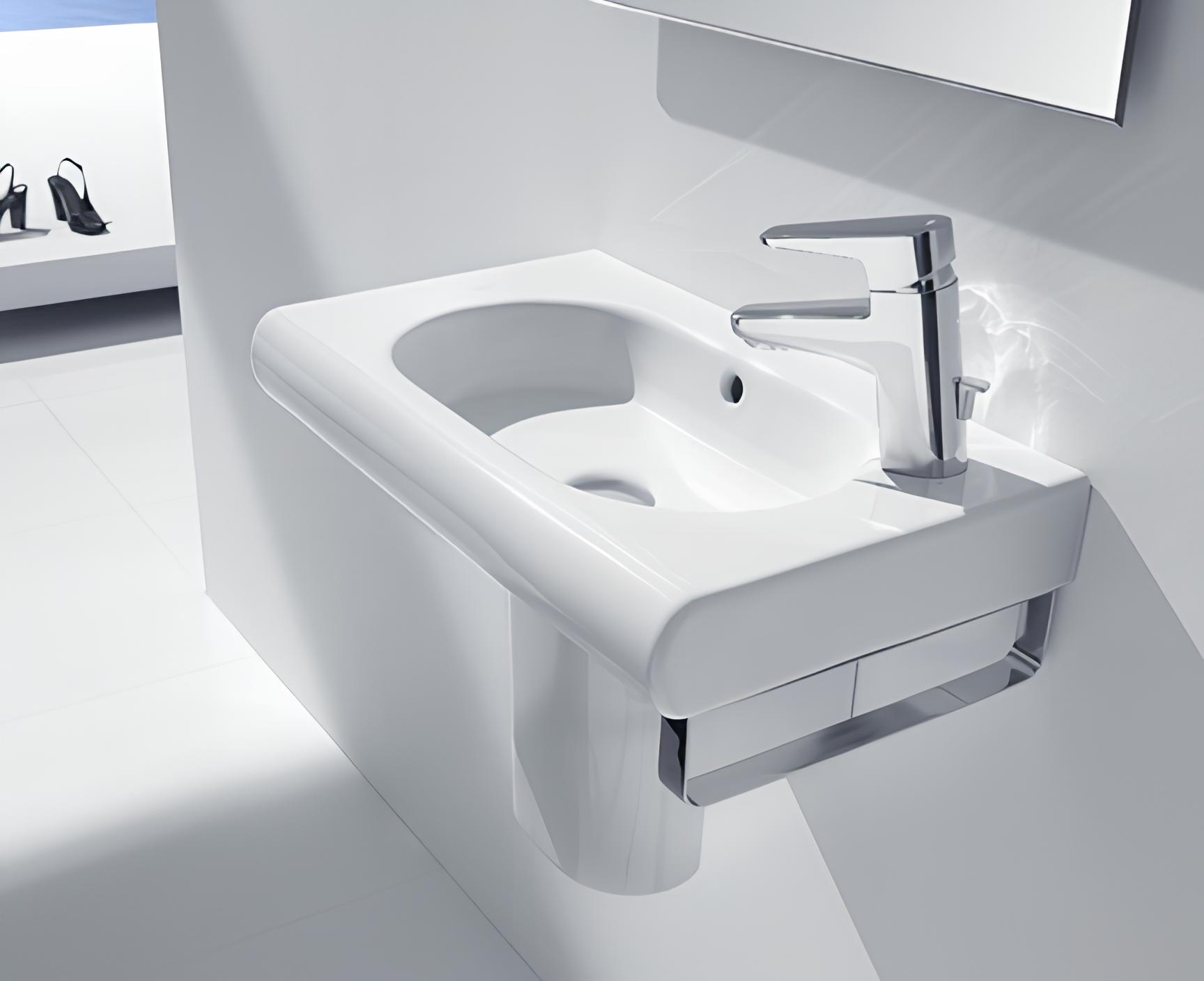 waschbecken h ngend 550 x 320 mm ffnung f r die armatur rechts perfecto design. Black Bedroom Furniture Sets. Home Design Ideas