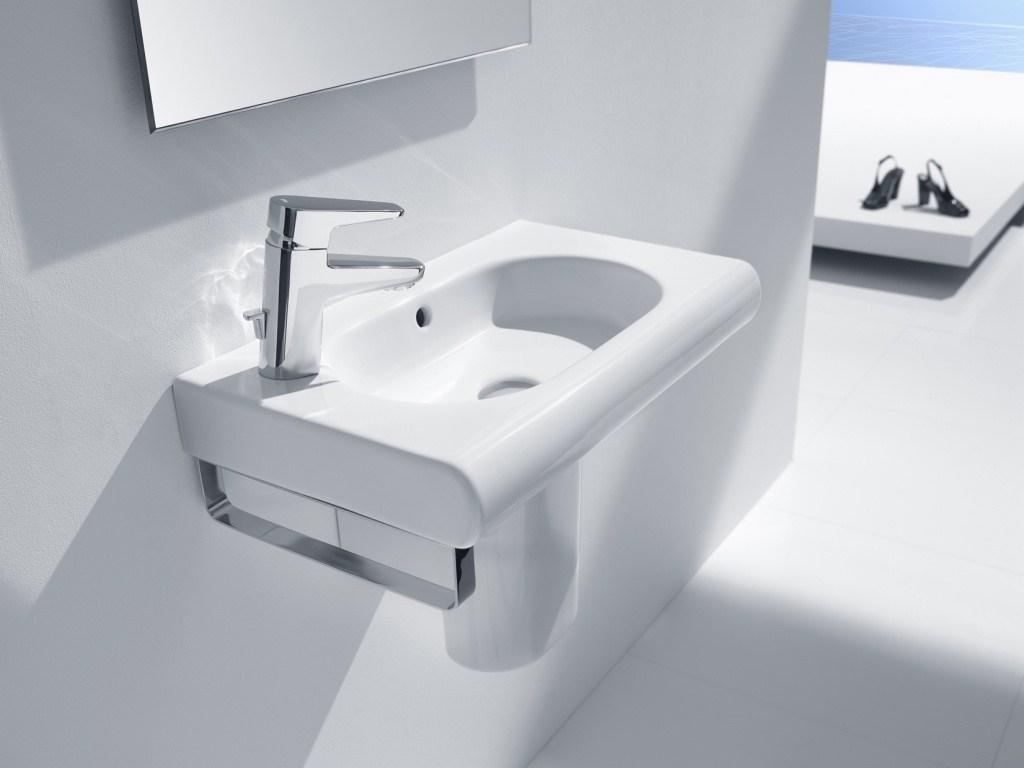 waschbecken h ngend 550 x 320 mm ffnung f r die armatur links perfecto design. Black Bedroom Furniture Sets. Home Design Ideas
