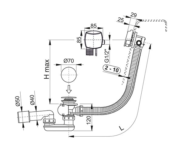 a564crm1 badewanne ab und berlaufgarnitur automat chrom mit f llfunktion perfecto design. Black Bedroom Furniture Sets. Home Design Ideas