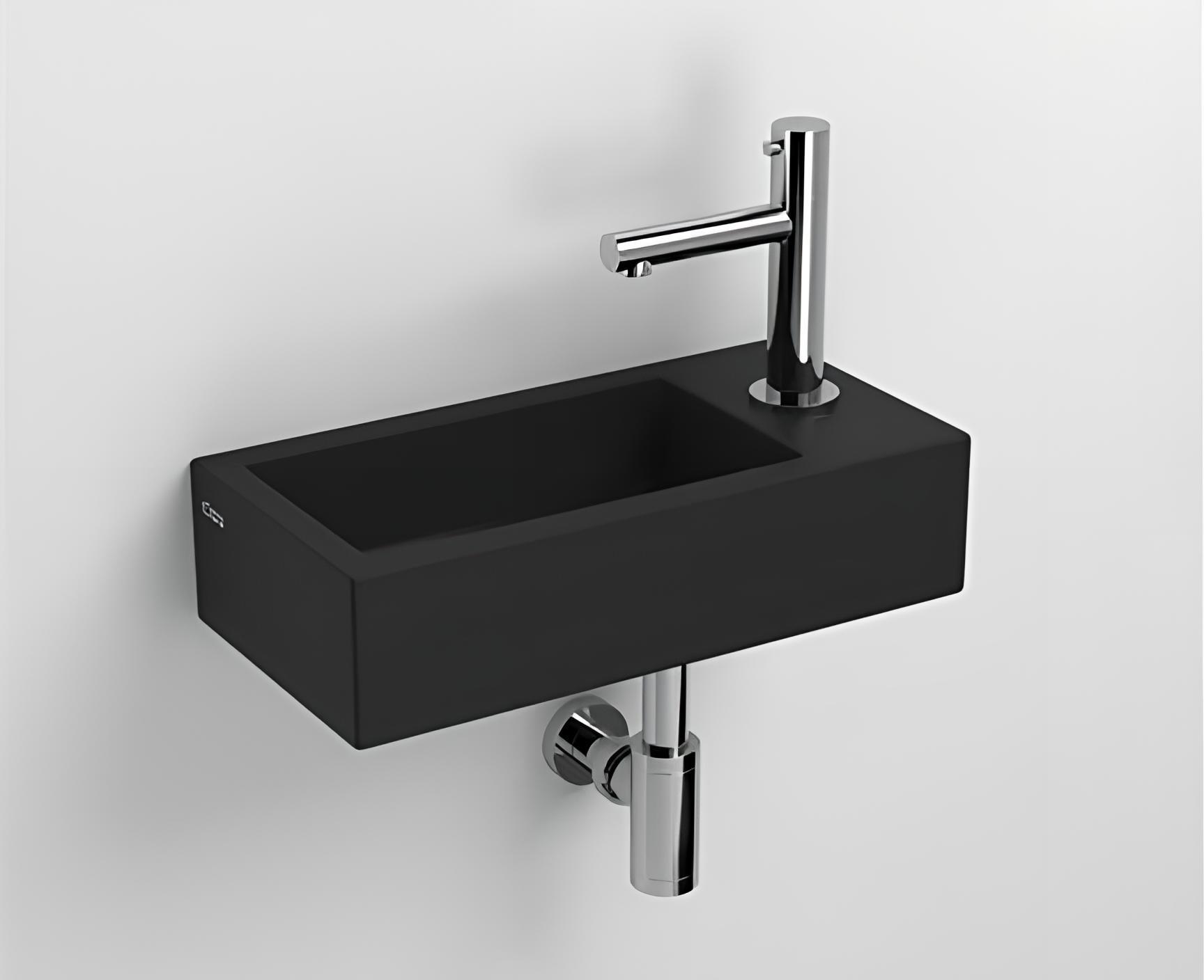 waschbecken h ngend flush 360 x 180 x 90 ffnung f r die armatur rechts schwarz matt. Black Bedroom Furniture Sets. Home Design Ideas