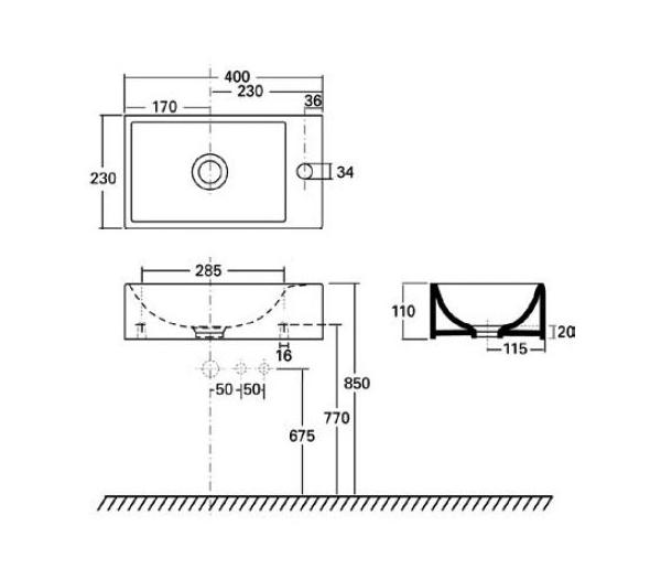 Waschbecken QUATTRO 400 x 230 mm, rechts  Perfecto design